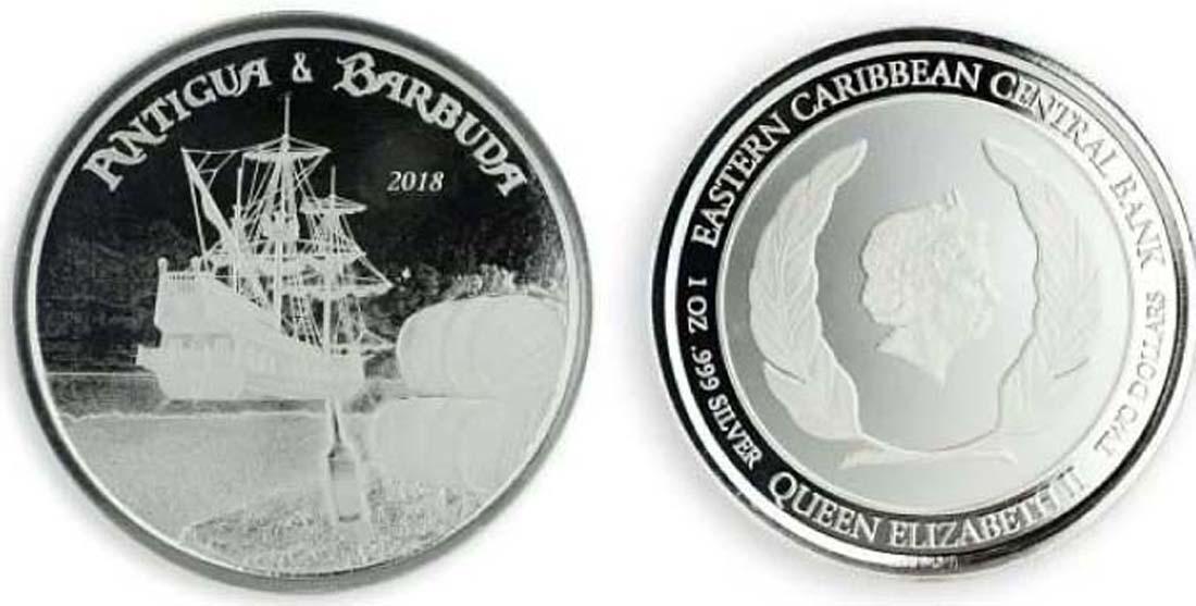 Antigua und Barbuda : 2 Dollar Rum Runner  2018 Stgl.