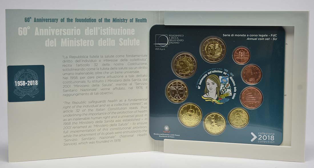 Übersicht:Italien : 5,88 Euro KMS Italien inkl. 2 Euro Gedenkmünze Gesundheitsministerium  2018 Stgl.