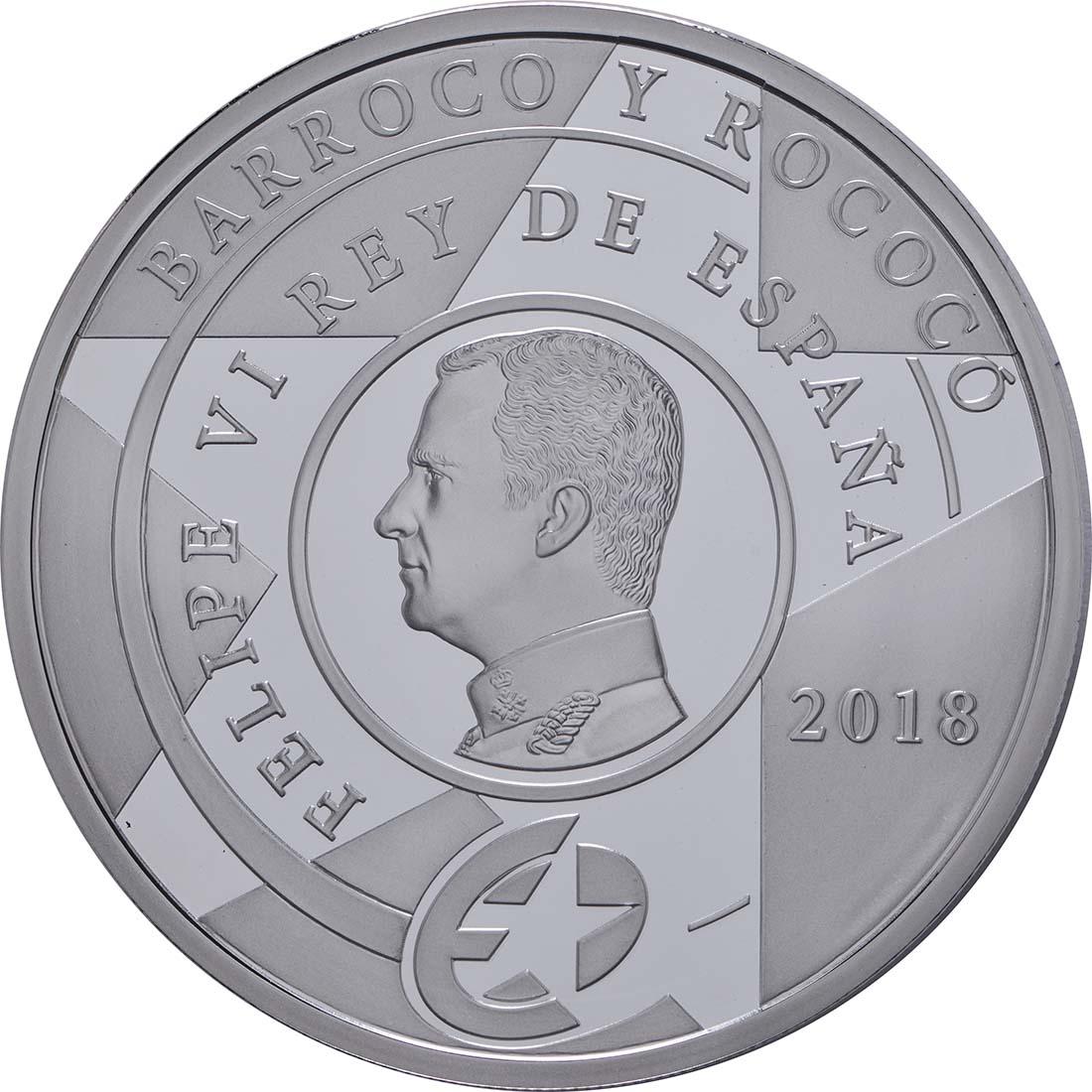 Rückseite:Spanien : 10 Euro Barock und Rokoko  2018 PP