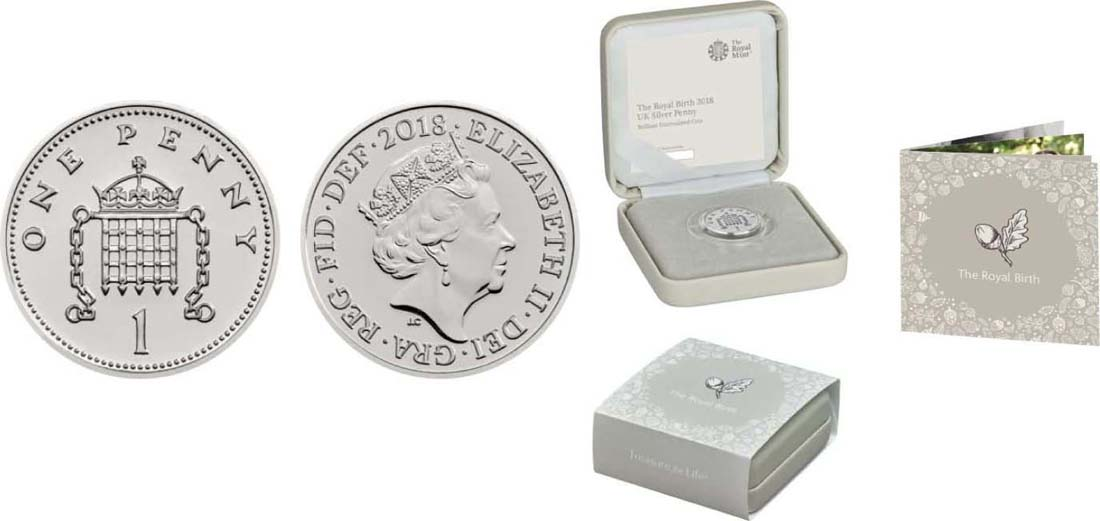 Großbritannien : 1 Penny Silver Penny zur Royalen Geburt  2018 Stgl.