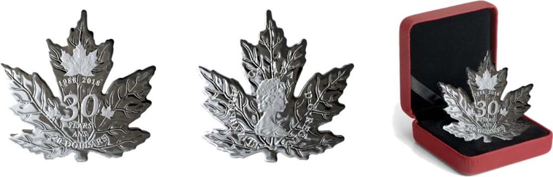 Übersicht:Kanada : 20 Dollar Maple Leaf in Ahornblatt-Form  2018 PP