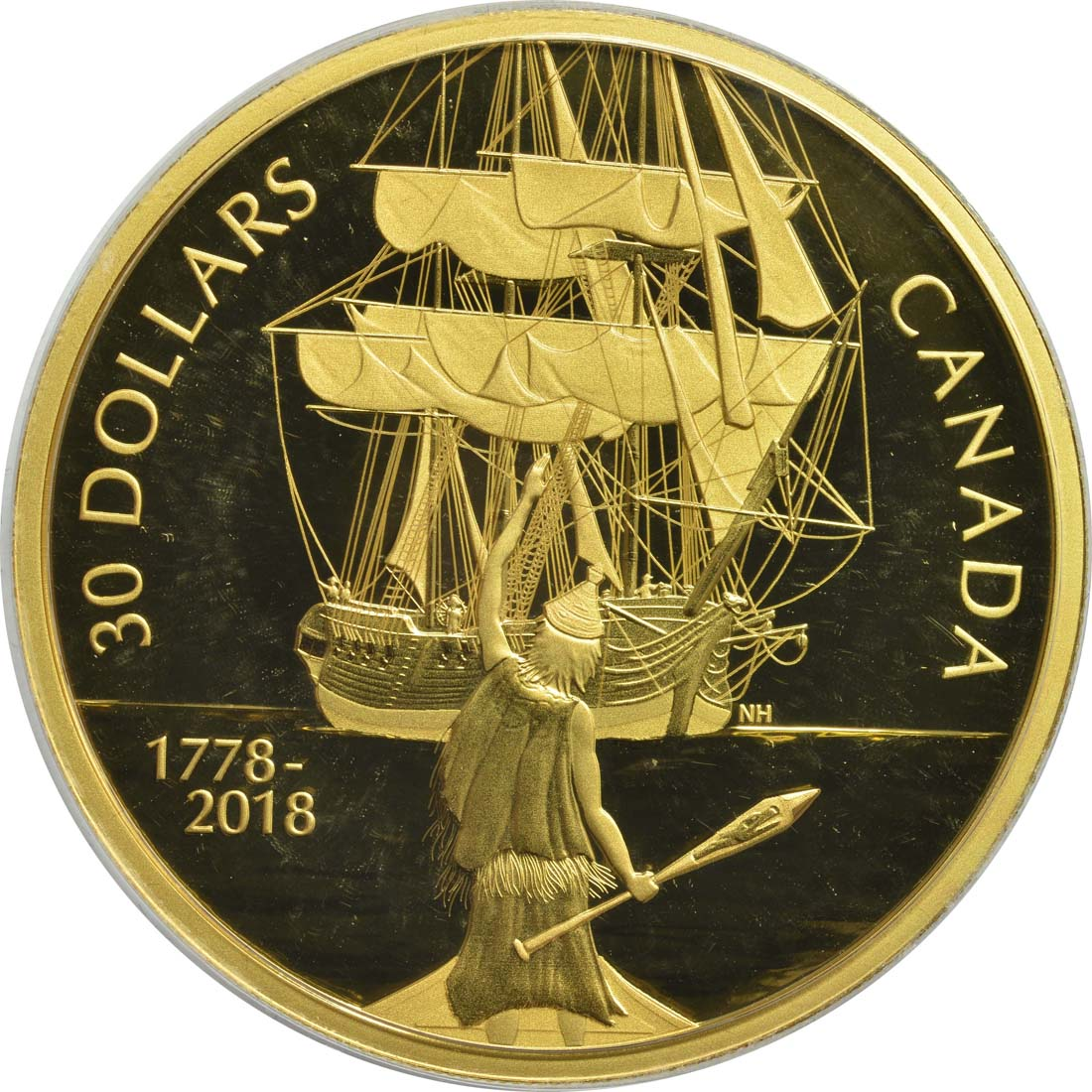 Vorderseite:Kanada : 30 Dollar Captain Cook und die HMS Resolution - vergoldet  2018 PP