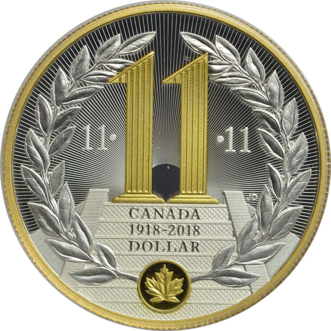 Vorderseite:Kanada : 1 Dollar 100 Jahre Ende des 1. Weltkriegs - Special Edition  2018 PP