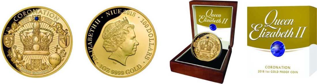 Niue : 100 Dollar 65. Krönungsjubiläum Elizabeth II  2018 PP