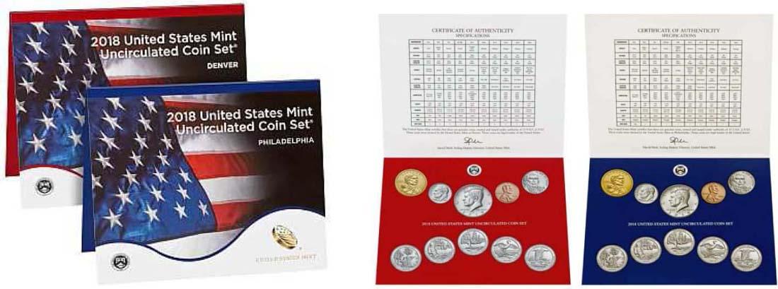 USA : 5,82 Dollar 2x2,91 $ 2018 Jahressatz incl. 5x25 Cent + 1,66 $ - D+P  2018 Stgl.