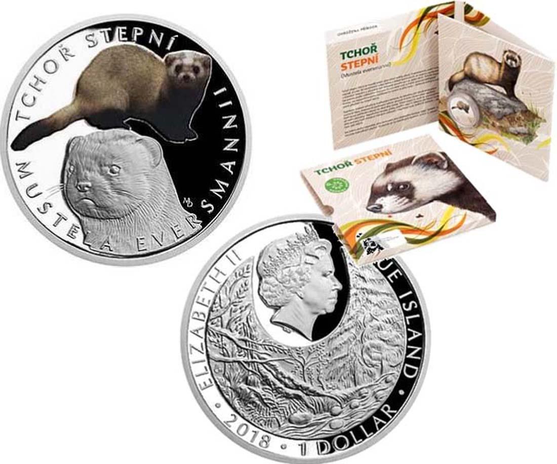 Niue : 1 Dollar Bedrohte Natur - Steppe Polecat  2018 PP