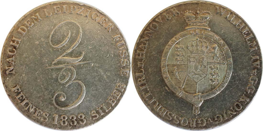 Lieferumfang:Deutschland : 2/3 Taler Wilhem IV 1830 - 1837 winz. Kratzer 1833 ss/vz.