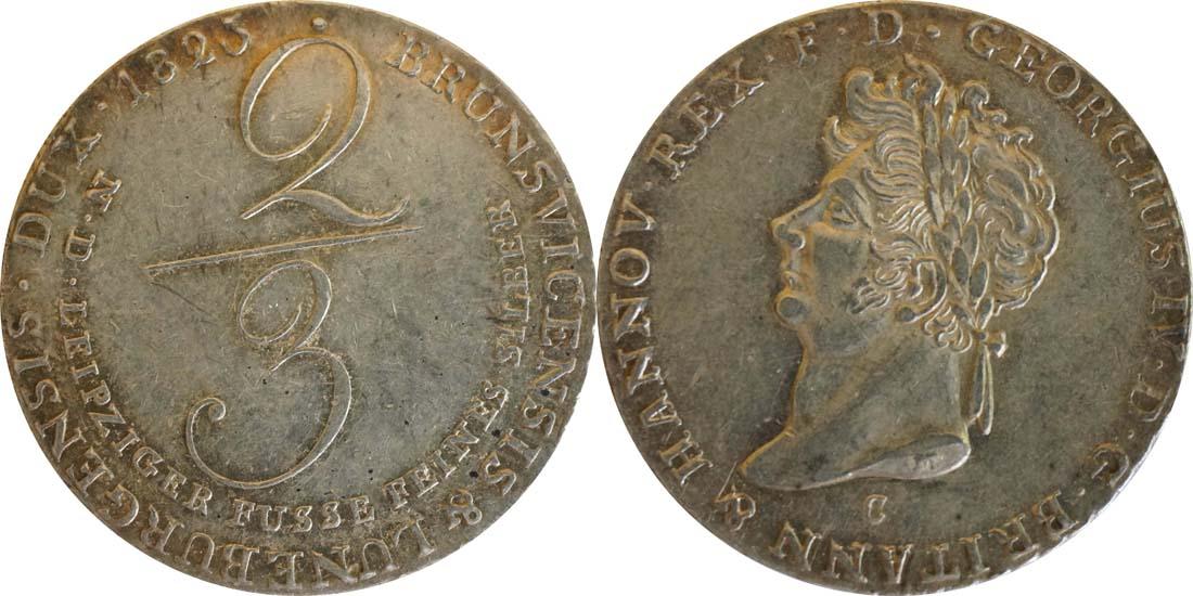 Deutschland : 2/3 Taler  patina, winz. Kratzer 1825 f.vz.