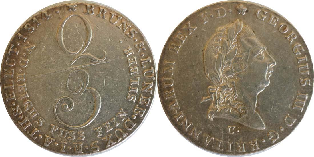Lieferumfang:Deutschland : 2/3 Taler Georg III 1760 - 1820  1814 ss/vz.