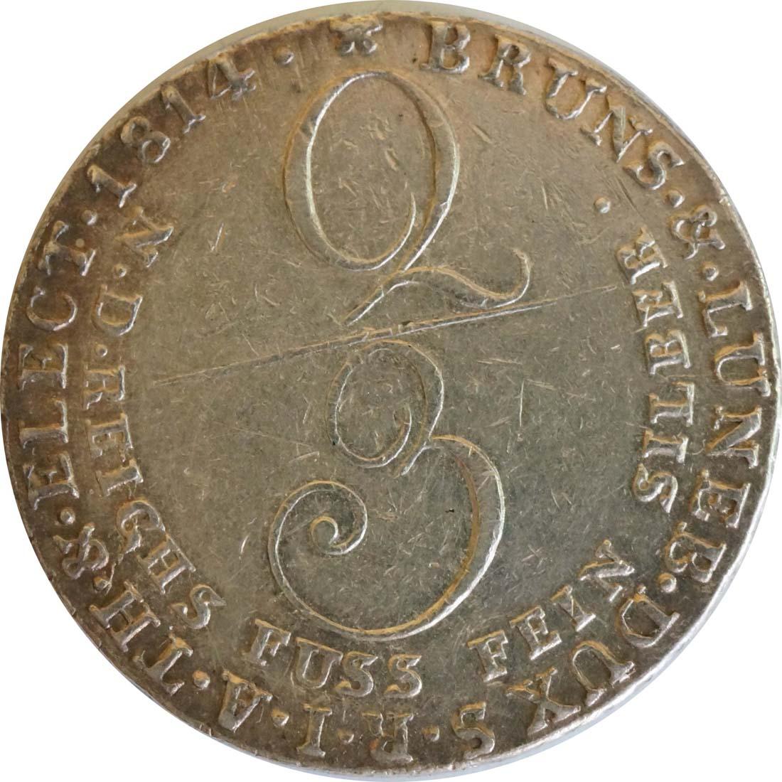 Vorderseite:Deutschland : 2/3 Taler Georg III 1760 - 1820  1814 ss/vz.
