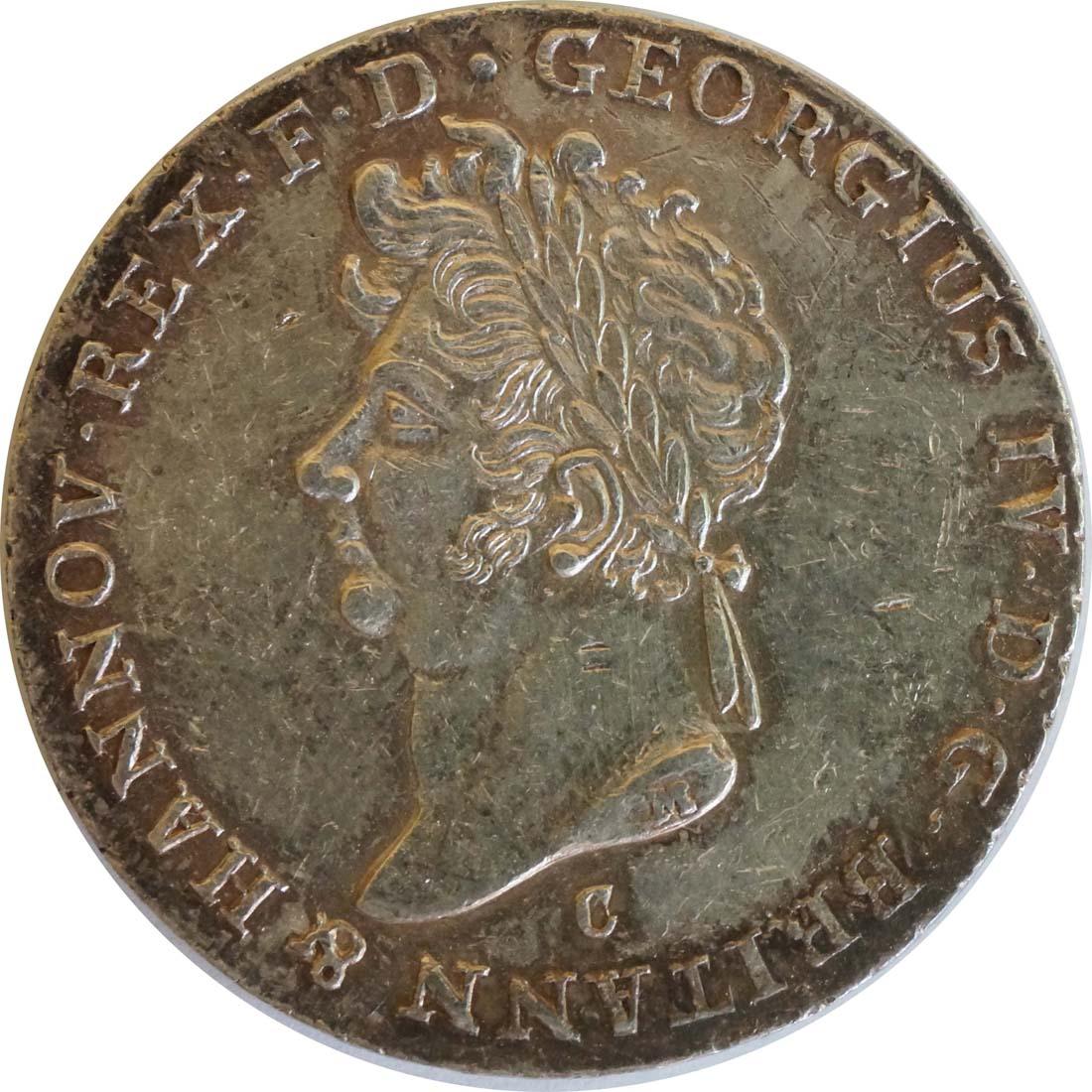 Bild der Rückseite :Deutschland - 2/3 Taler Georg IV 1820 - 1830 patina, Kratzer 1826 ss.