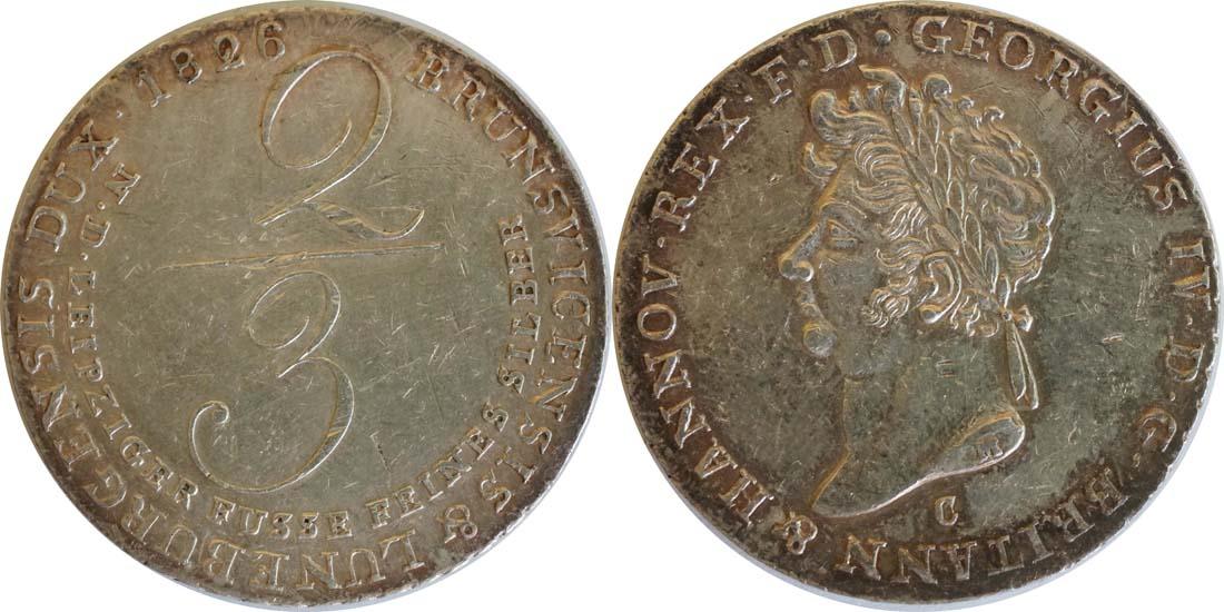 Deutschland : 2/3 Taler Georg IV 1820 - 1830 patina, Kratzer 1826 ss.