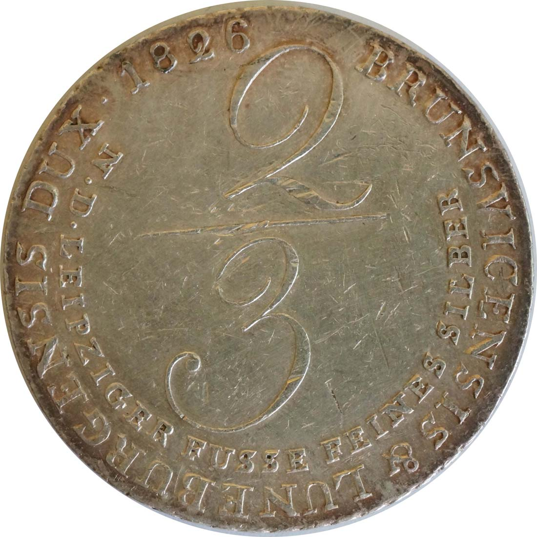 Vorderseite:Deutschland : 2/3 Taler Georg IV 1820 - 1830 patina, Kratzer 1826 ss.