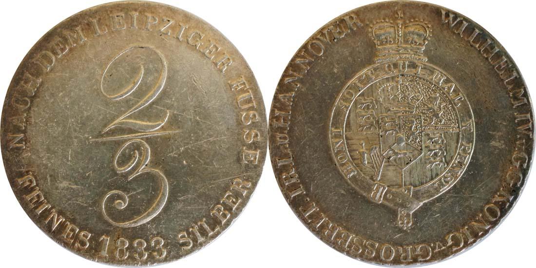 Deutschland : 2/3 Taler Wilhelm IV 1830 - 1837 SELTENE VARIANTE winz. Kratzer, patina 1833 vz.