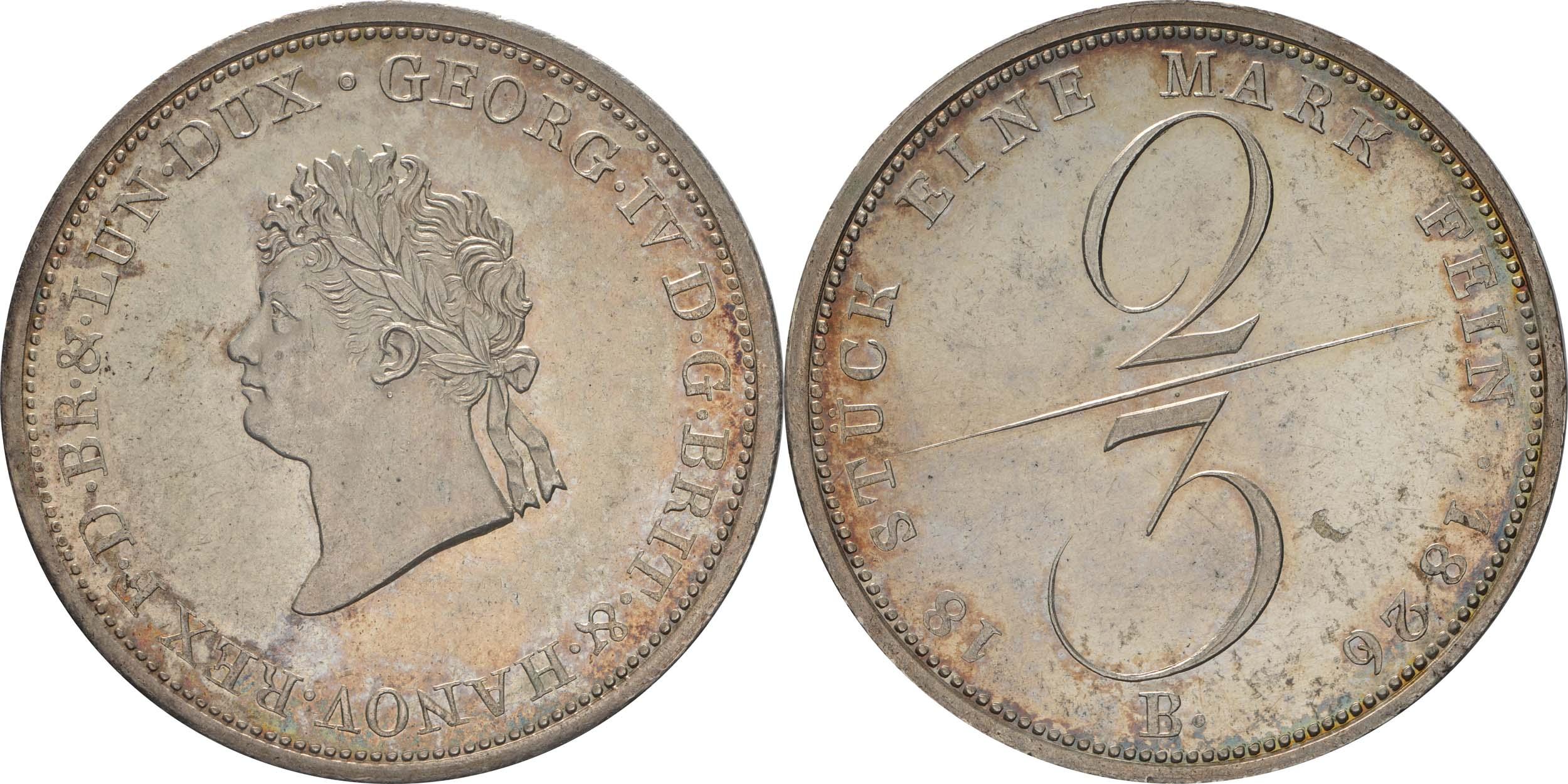 Deutschland : 2/3 Taler Georg IV 1820 - 1830 patina, winz. Kratzer, winz. Schrötlf. 1826 f.Stgl.