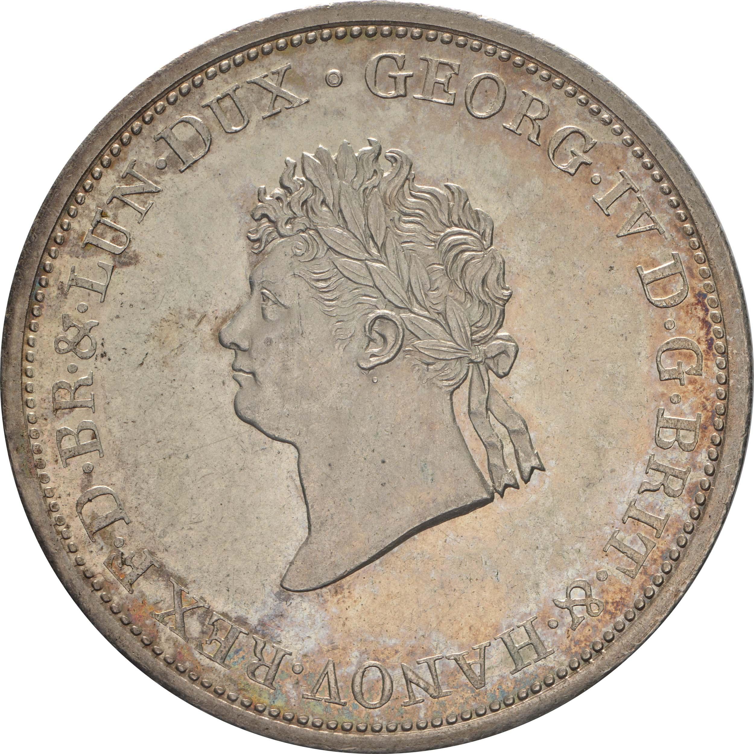 Vorderseite :Deutschland : 2/3 Taler Georg IV 1820 - 1830 patina, winz. Kratzer, winz. Schrötlf. 1826 f.Stgl.