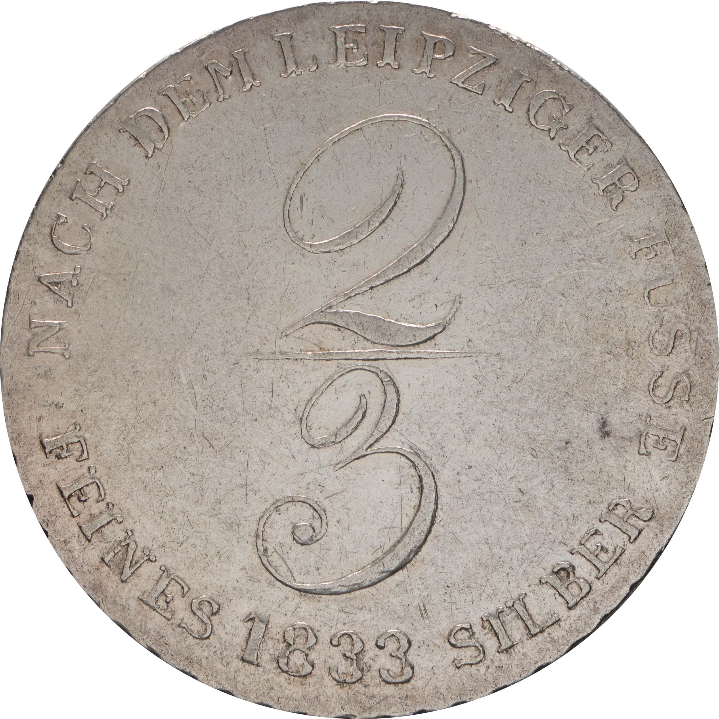 Rückseite:Deutschland : 2/3 Ausbeutetaler Wilhelm IV Kratzer, -selten- 1833 ss/vz.