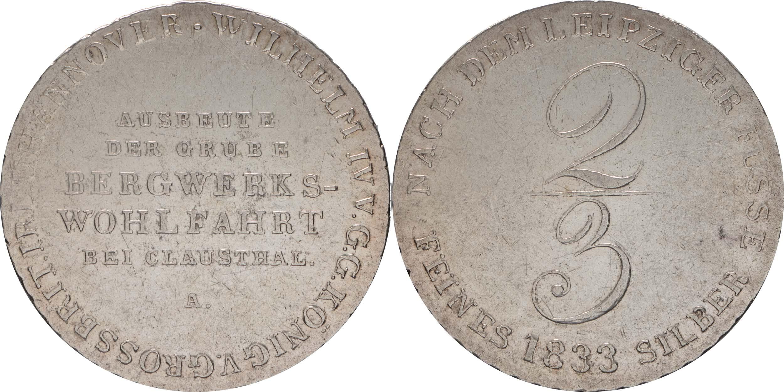 Übersicht:Deutschland : 2/3 Ausbeutetaler Wilhelm IV Kratzer, -selten- 1833 ss/vz.