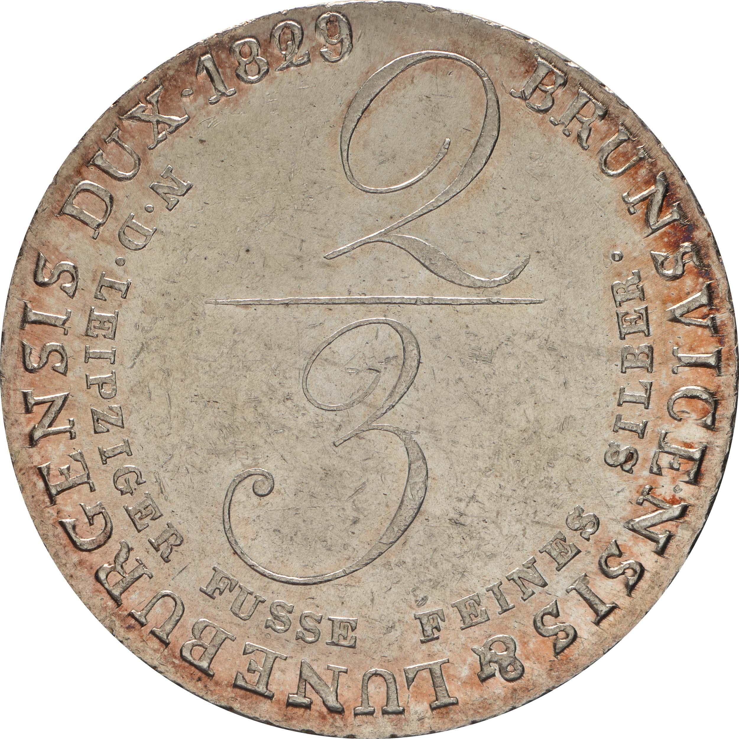 Rückseite:Deutschland : 2/3 Taler Georg IV 1820 - 1830 winz. Kratzer 1829 Stgl.