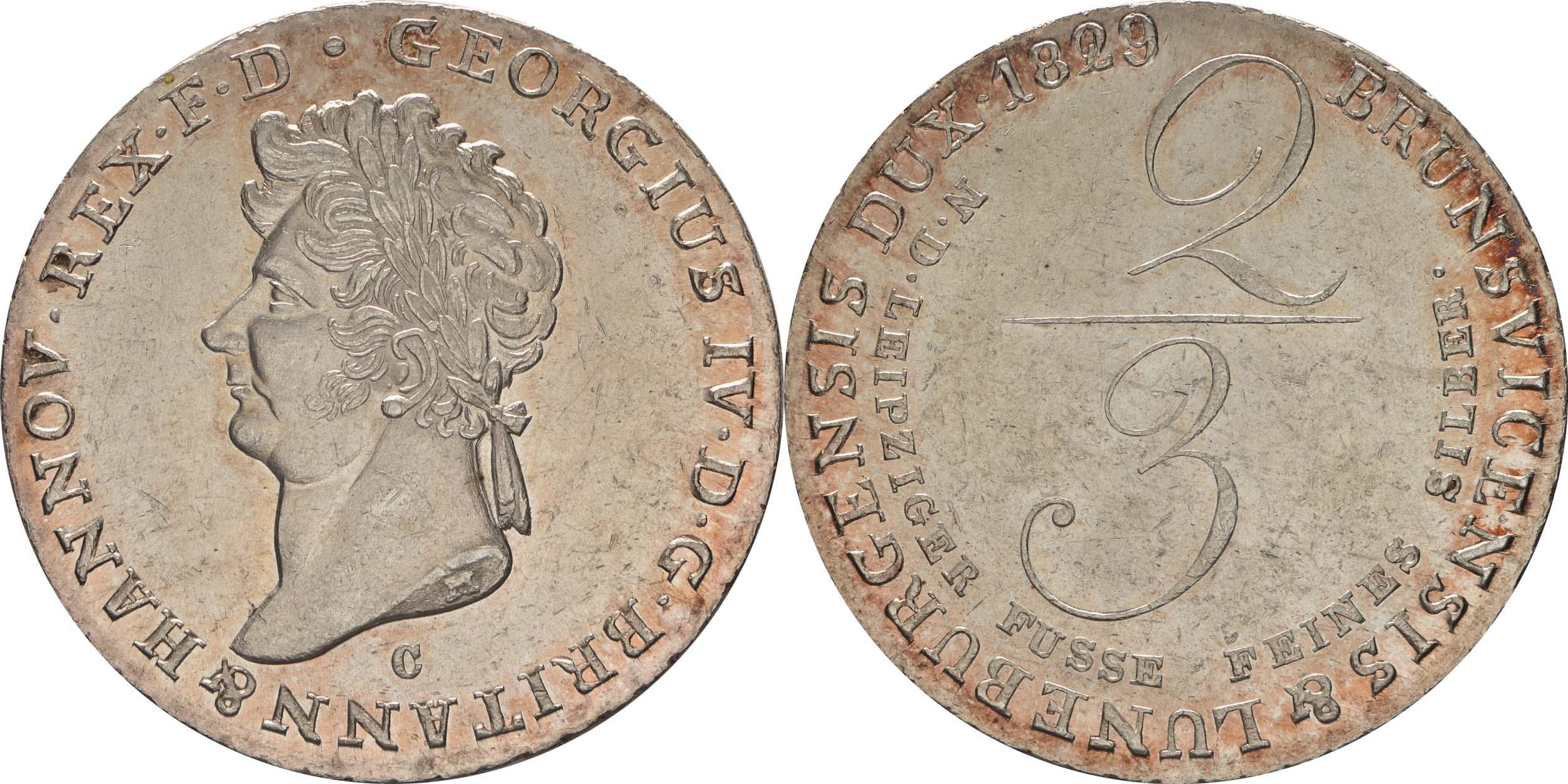 Lieferumfang:Deutschland : 2/3 Taler Georg IV 1820 - 1830 winz. Kratzer 1829 Stgl.