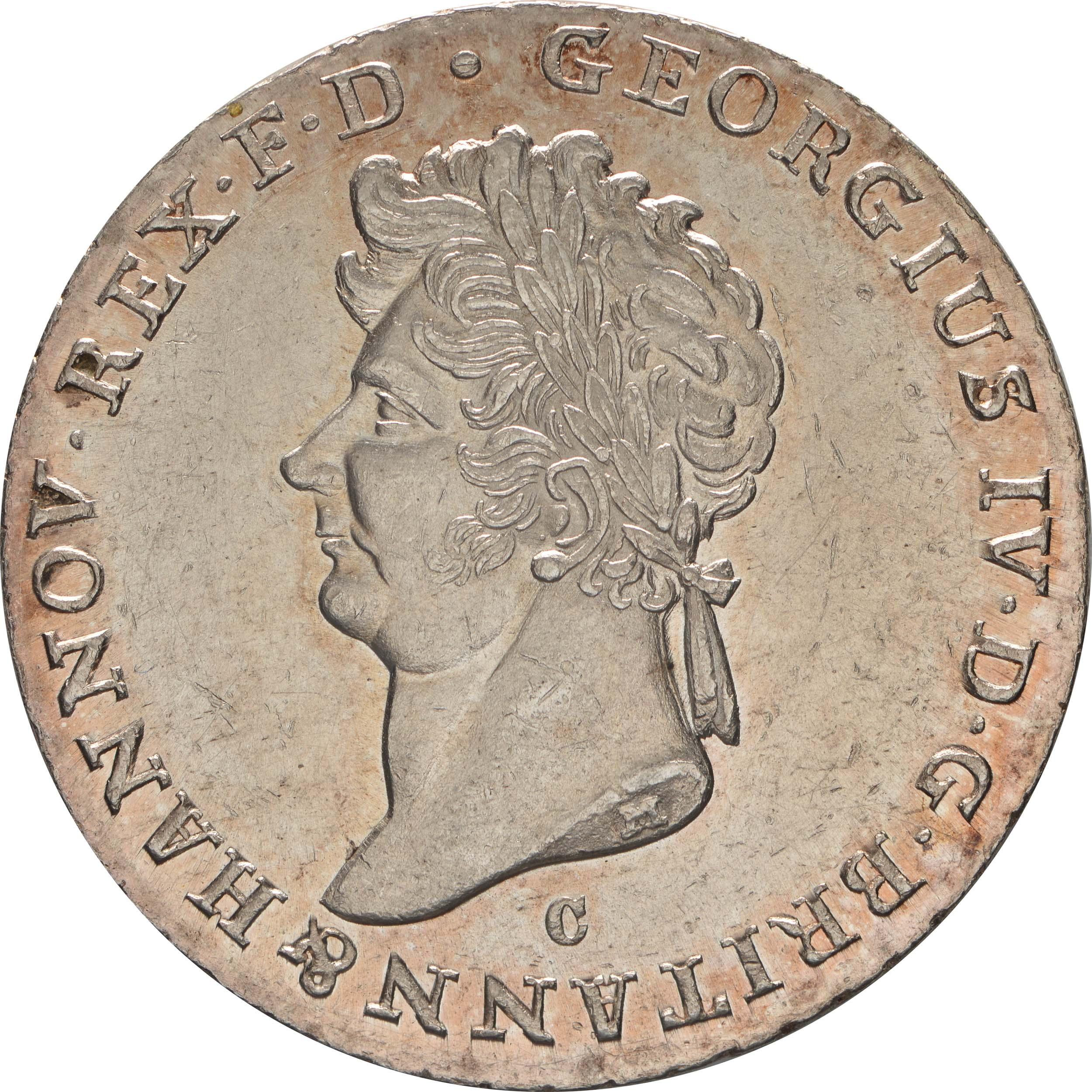 Vorderseite:Deutschland : 2/3 Taler Georg IV 1820 - 1830 winz. Kratzer 1829 Stgl.