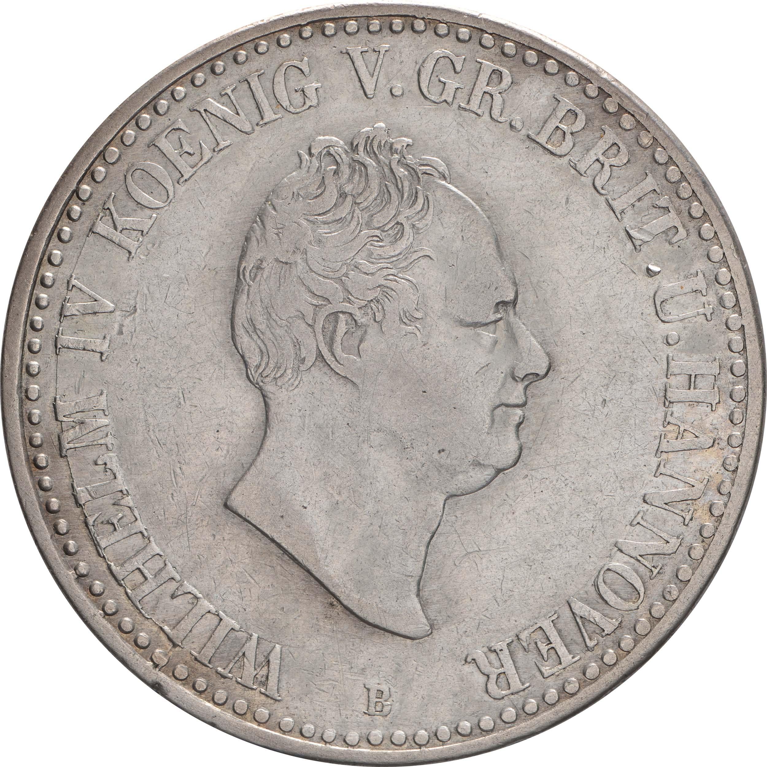 Vorderseite :Deutschland : 1 Taler Wilhelm IV 1830 - 1837  1834 ss.