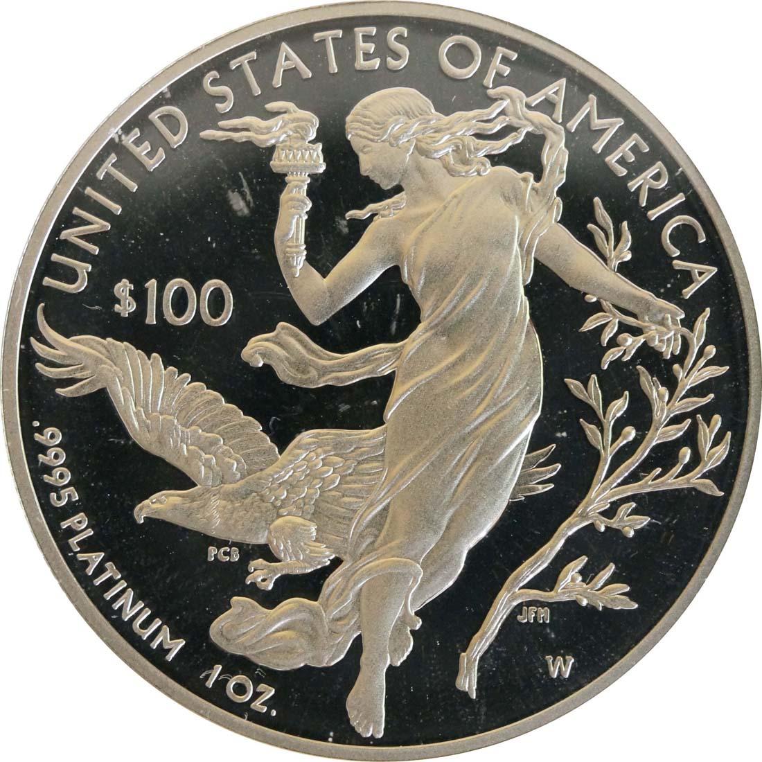 Rückseite:USA : 100 Dollar Platin Eagle  2016 PP