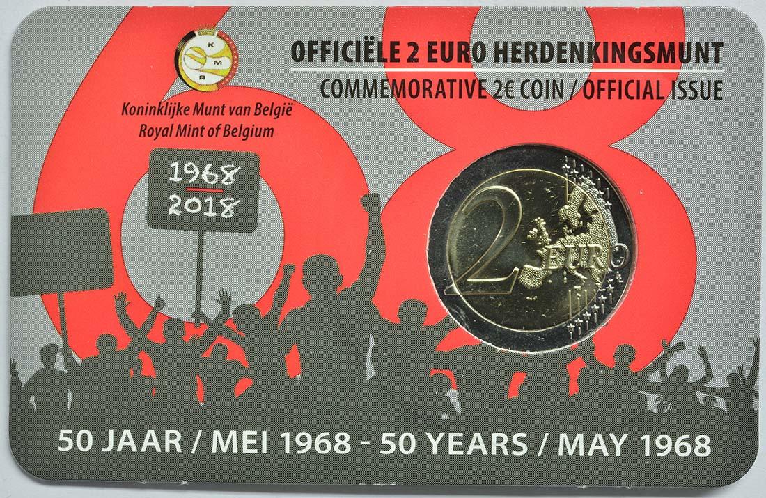 Zertifikat:Belgien : 2 Euro Studentenaufstand 1968  2018 Stgl.