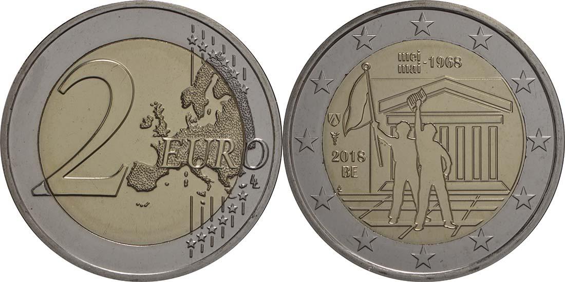 Lieferumfang:Belgien : 2 Euro Studentenaufstand 1968  2018 bfr