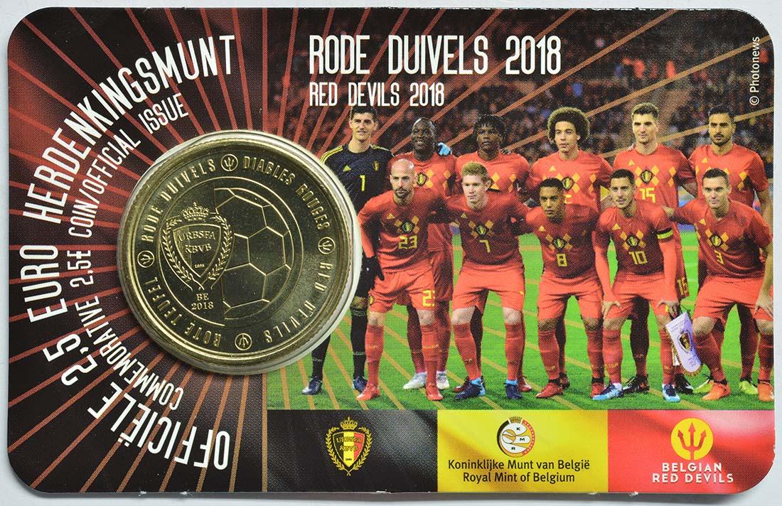 Übersicht:Belgien : 2,5 Euro Die belgische Fußballnationalmannschaft Red Devils  2018 bfr