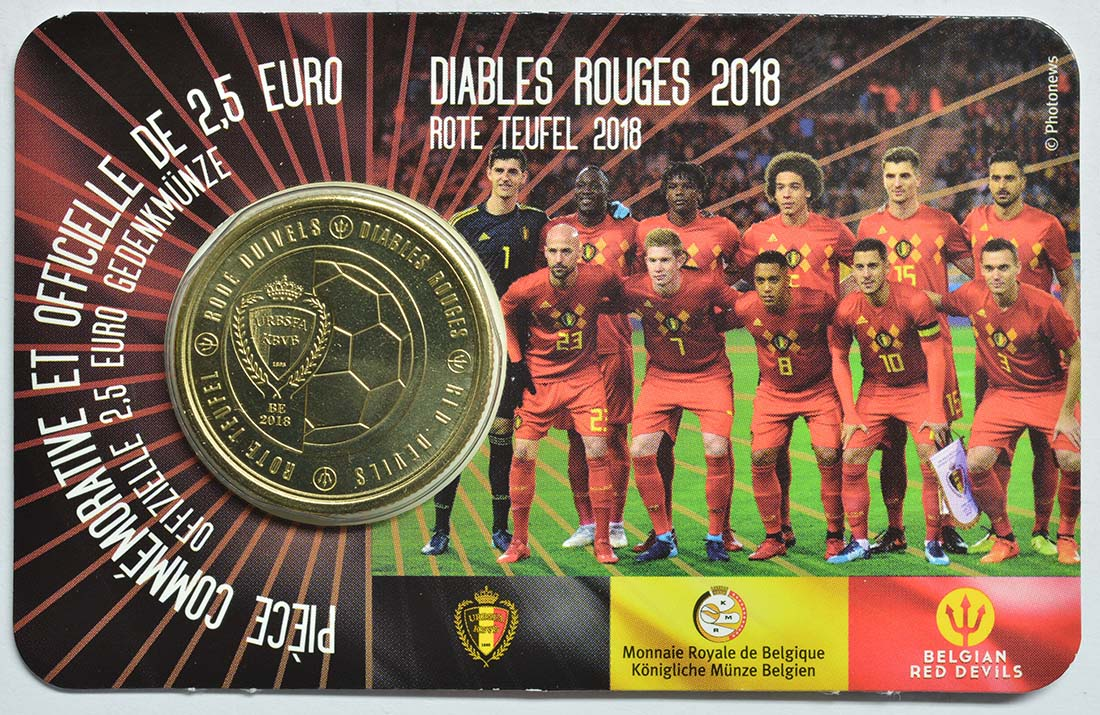 Lieferumfang:Belgien : 2,5 Euro Die belgische Fußballnationalmannschaft Red Devils  2018 bfr