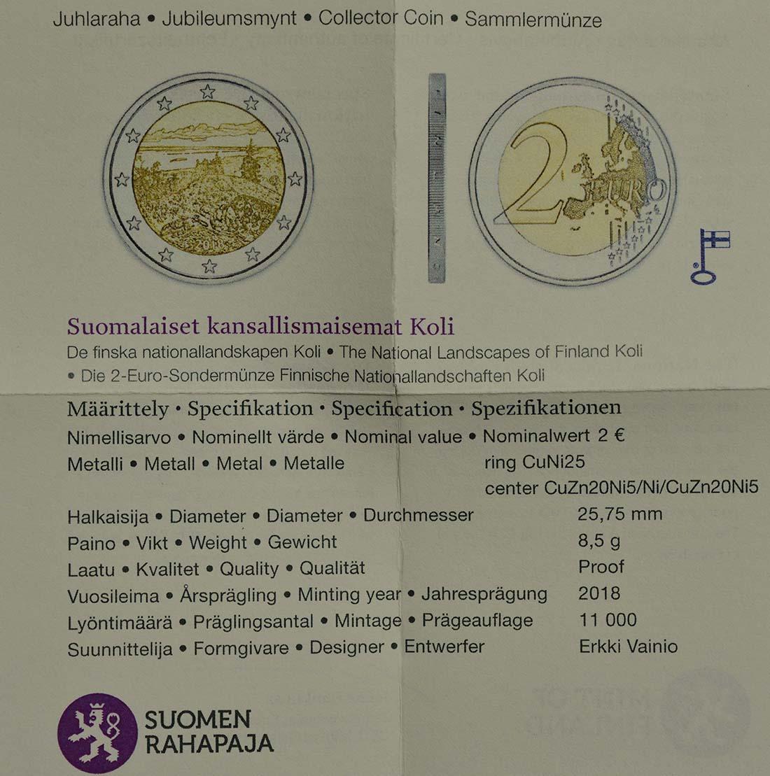 Zertifikat :Finnland : 2 Euro Koli Nationalpark  2018 PP
