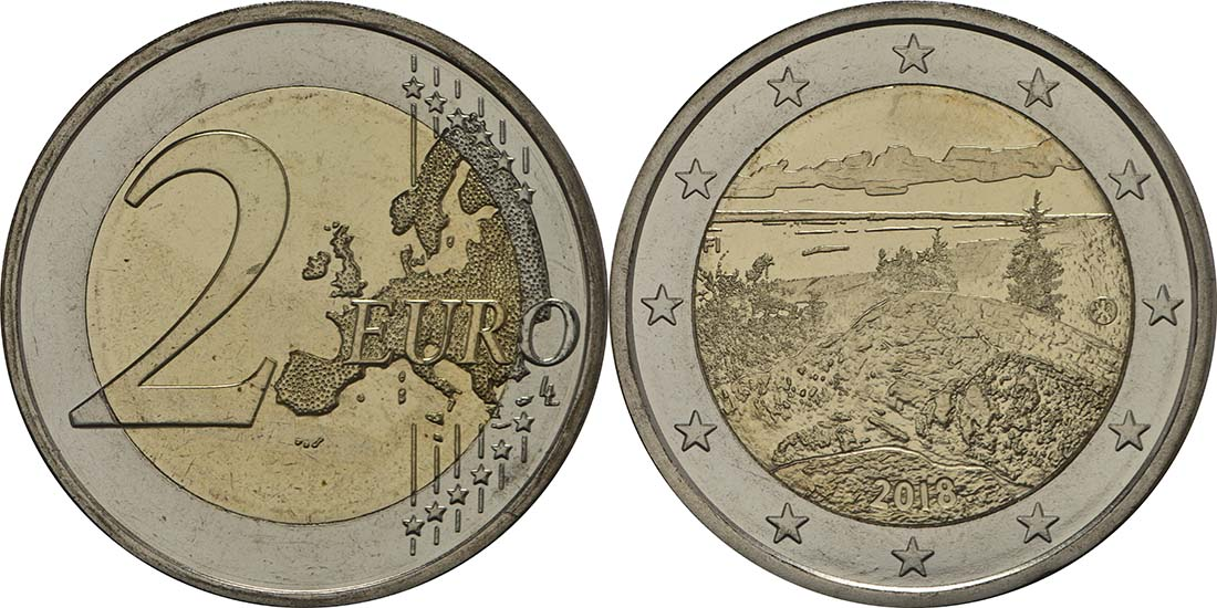 Bild des Lieferumfangs :Finnland - 2 Euro Koli Nationalpark  2018 bfr
