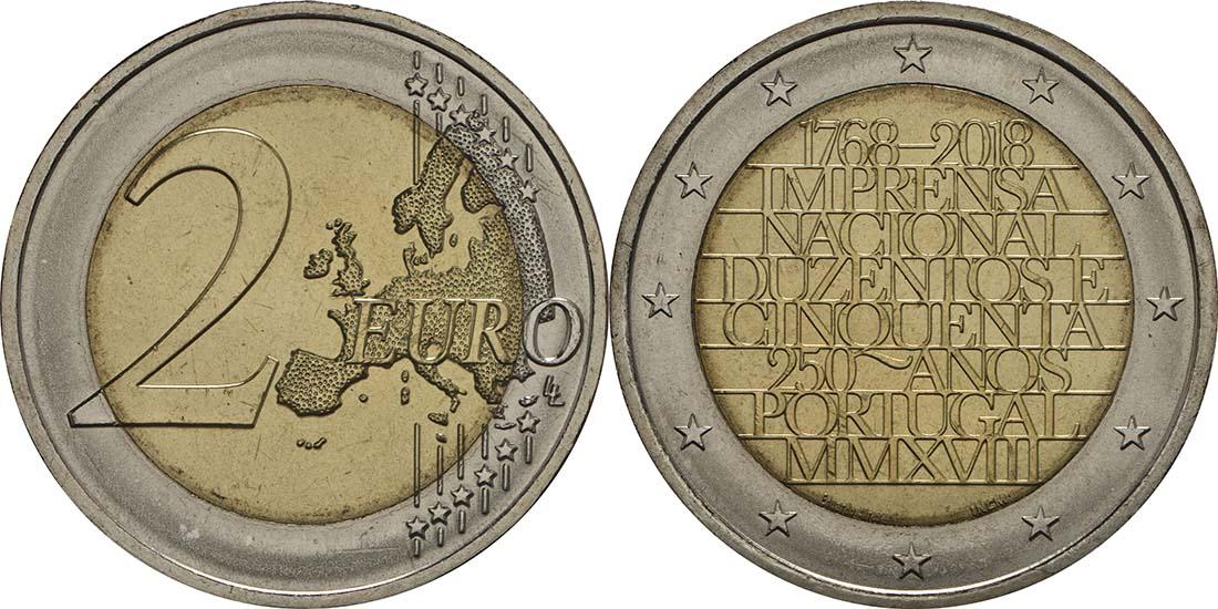 Lieferumfang:Portugal : 2 Euro 250 Jahre staatliche Prägestätte INCM  2018 bfr