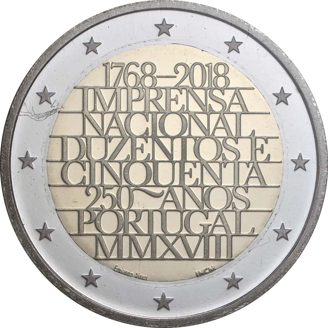 Rückseite:Portugal : 2 Euro 250 Jahre staatliche Prägestätte INCM  2018 PP