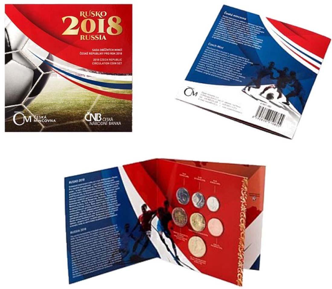 Tschechische Republik : 88 Kronen Kursmünzensatz - Fussball-WM  2018 Stgl.
