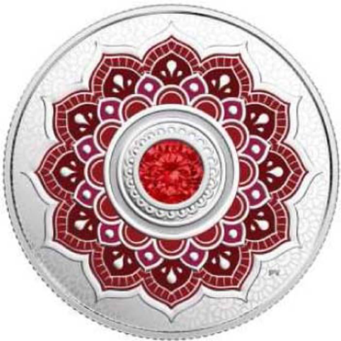 Kanada : 5 Dollar Geburtsstein Juli mit Henna-Motiv und Swarowski  2018 PP