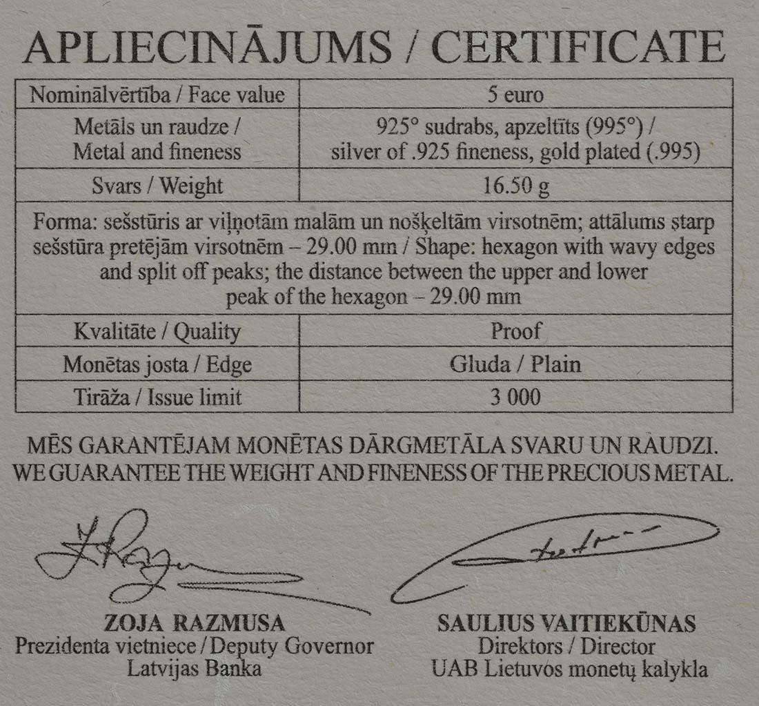 Zertifikat :Lettland : 5 Euro Honigmünze  2018 PP