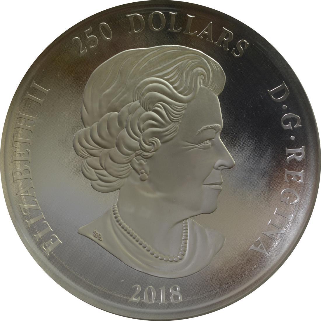 Rückseite:Kanada : 250 Dollar Maple Leaf Forever - konvex 1 kg  2018 PP