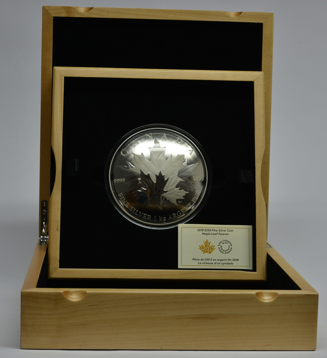 Übersicht:Kanada : 250 Dollar Maple Leaf Forever - konvex 1 kg  2018 PP
