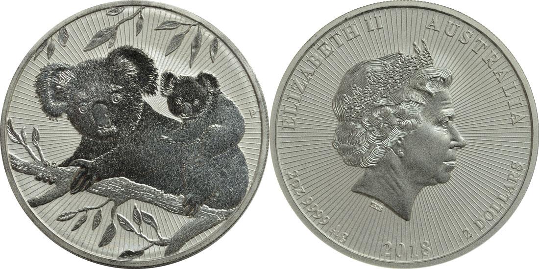 Lieferumfang:Australien : 2 Dollar Koala - Piedfort  2018 PP