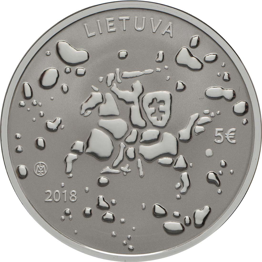 Rückseite:Litauen : 5 Euro Jonines (Rasos)  2018 PP