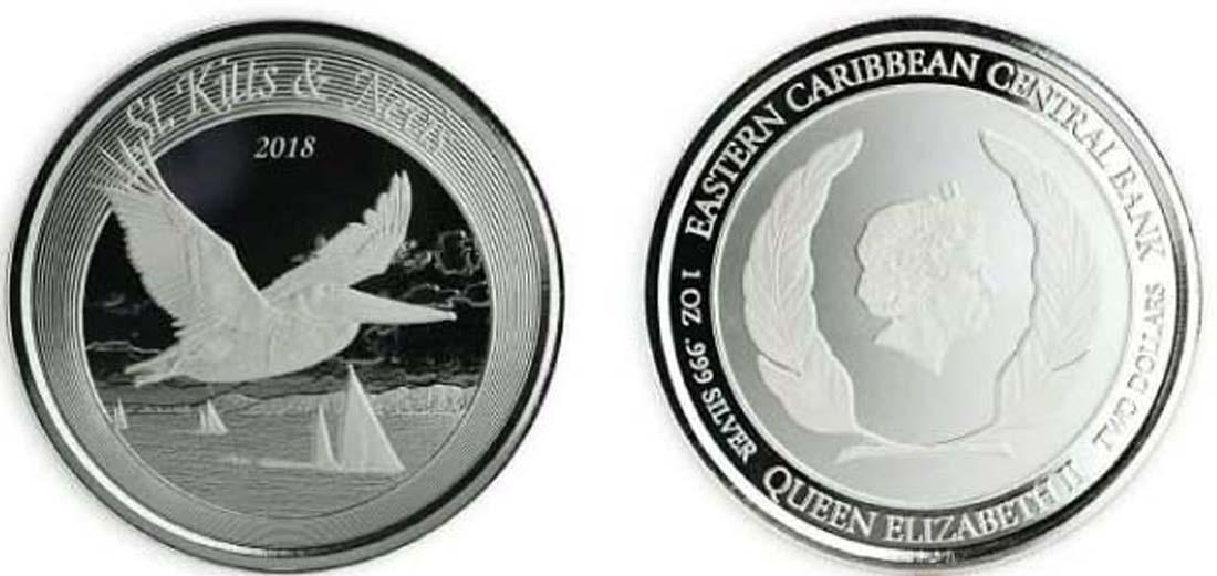 Saint Kitts : 2 Dollar Brown Pelican  2018 Stgl.