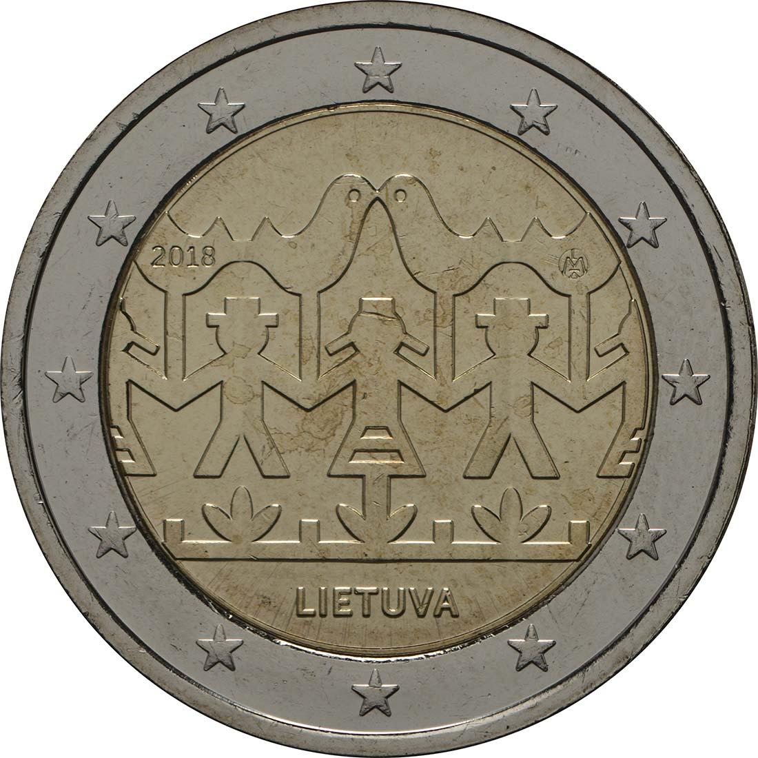 Rückseite:Litauen : 2 Euro Gesang- und Tanzfestival  2018 bfr