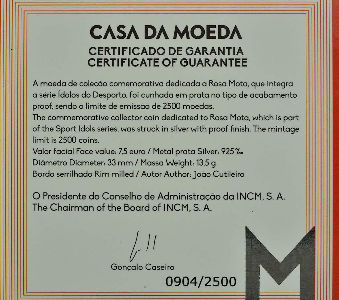 Zertifikat:Portugal : 7,5 Euro Rosa Mota  2018 PP