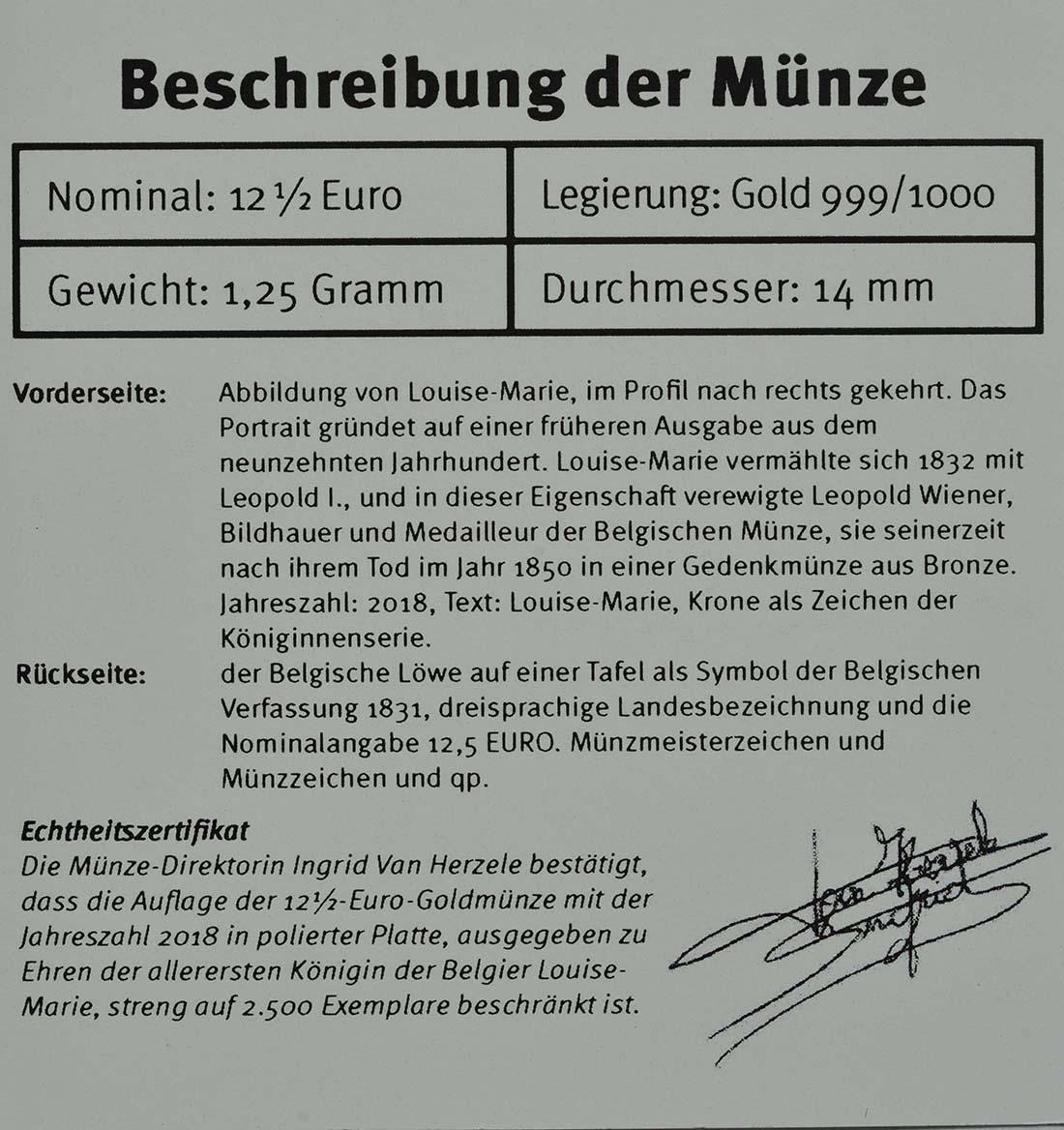 Zertifikat:Belgien : 12,5 Euro Königin Louise Marie d´Orleans  2018 PP