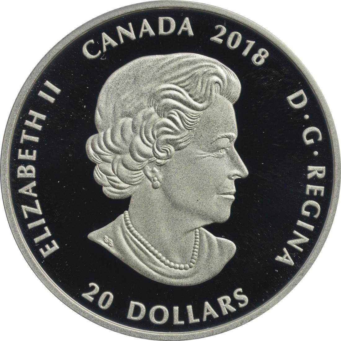 Rückseite:Kanada : 20 Dollar Kanadisches Mosaik - Karibu  2018 PP