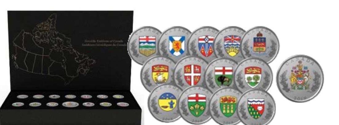Kanada : 8,25 Dollar Die Wappen Canadas - Set (13x 25 Ct, 1x 5 $)  2018 PP