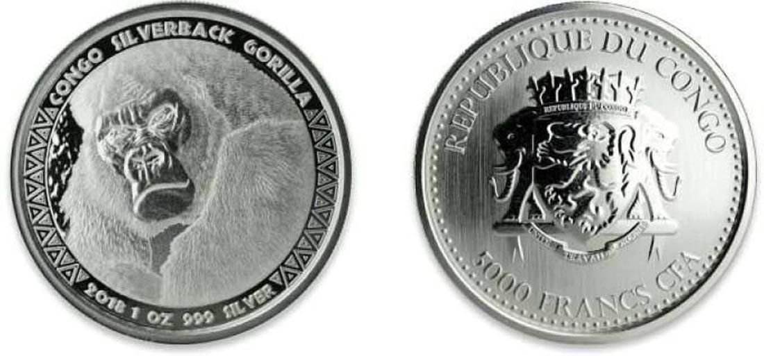 Kongo : 5000 Franc Gorilla  2018 Stgl.