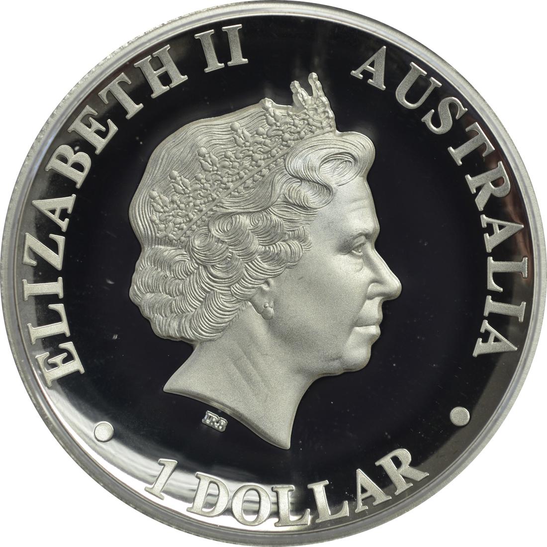 Rückseite:Australien : 1 Dollar Känguru Highrelief  2018 PP